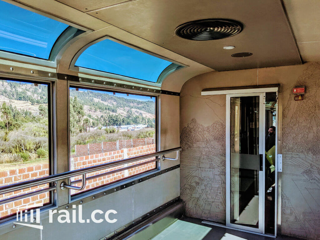 Open windows and handrails in the observatory waggon
