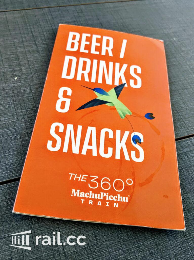 Craft Beer and Snack menu